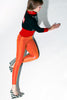 Wet Look Spandex Leggings Red Yellow Hues - Elastic Wonder - 12