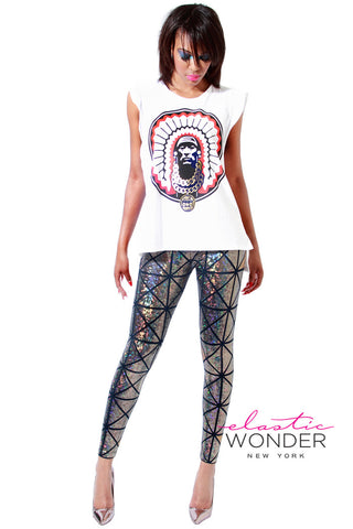 In Stock Panel Square Shattered Glass Hologram Leggings Silver