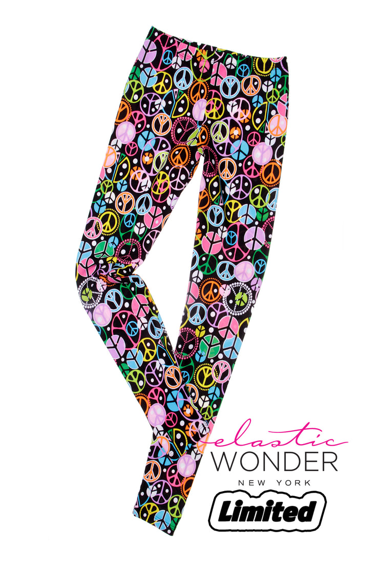Multicolor Peace Sign Spandex Leggings - ElasticWonder.com