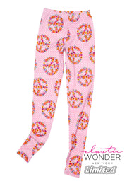 Hippie Flower Peace Sign Pattern Spandex Leggings - ElasticWonder.com