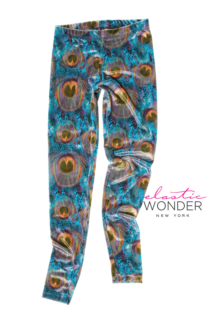 Peacock Feather Velvet Spandex Leggings - ElasticWonder.com