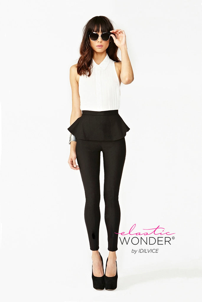 Peplum Spandex Leggings - Elastic Wonder - 1