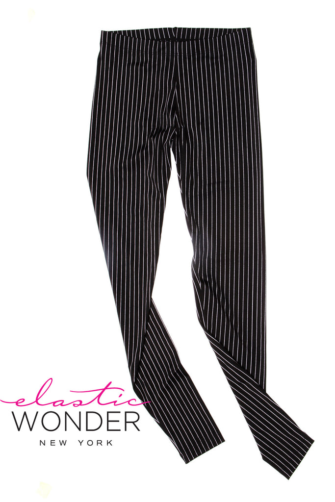 Pin Stripe Black Printed Spandex Leggings - Elastic Wonder