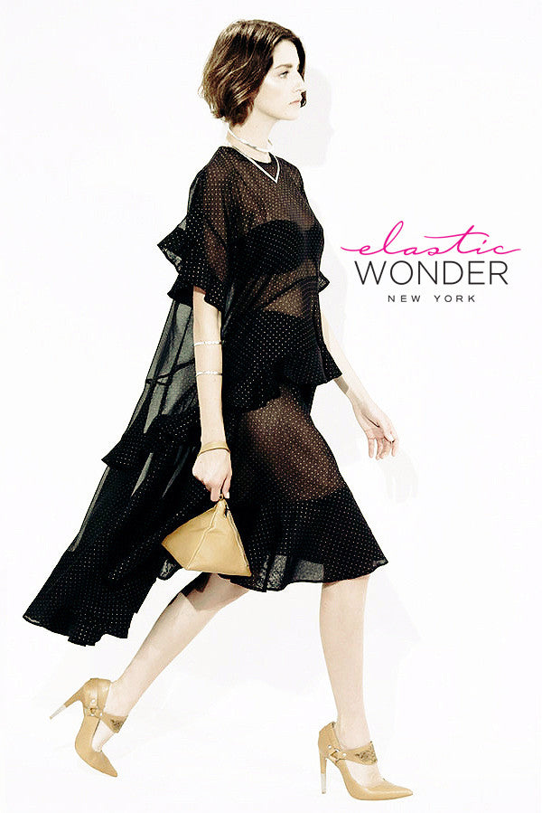Polka Dot Printed Sheer Mesh Ruffle Spandex Tunic Dress - ElasticWonder.com