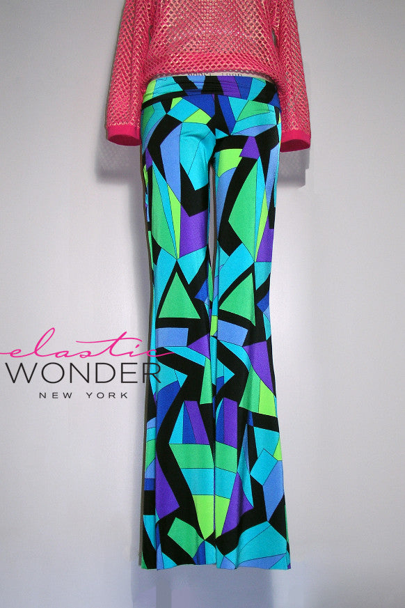 Pucci-Esque Graphic Printed Pallazzo Bell Bottom Fold Over Pants - ElasticWonder.com