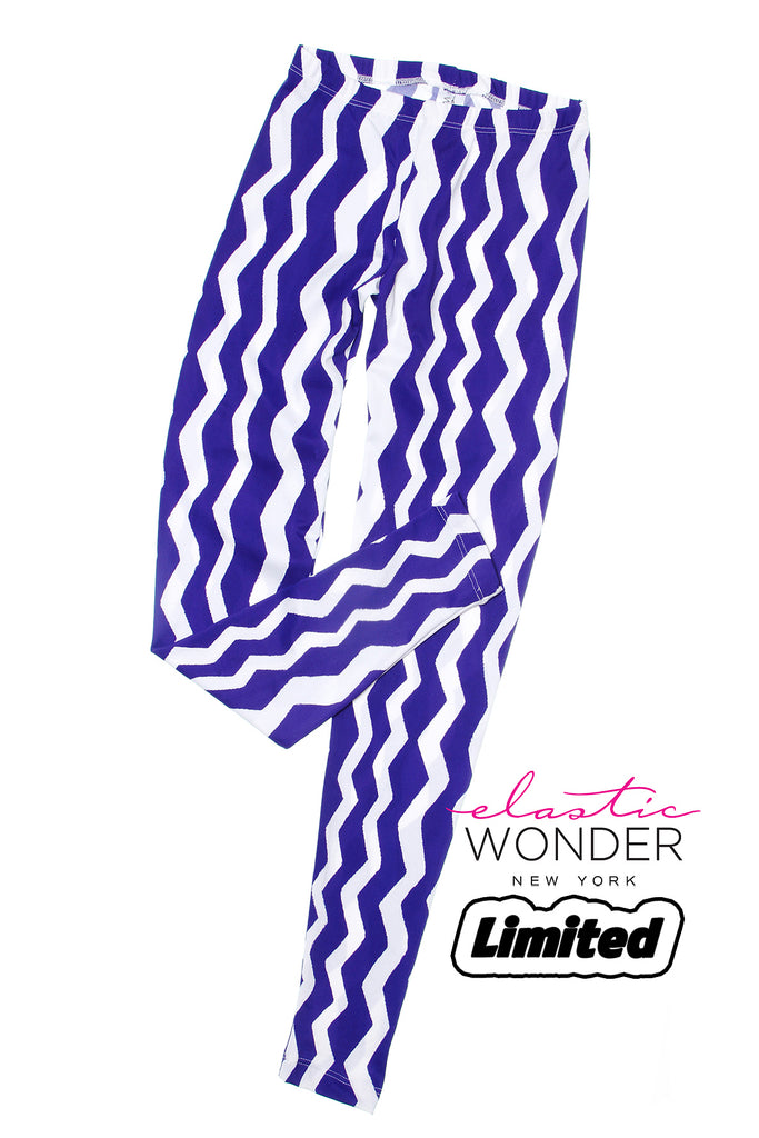 Tribal Zig Zag Purple Blue Spandex Leggings - ElasticWonder.com