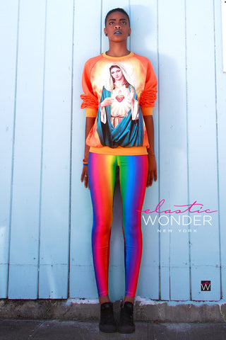 In Stock Rainbow Gradient Spandex Leggings Multi