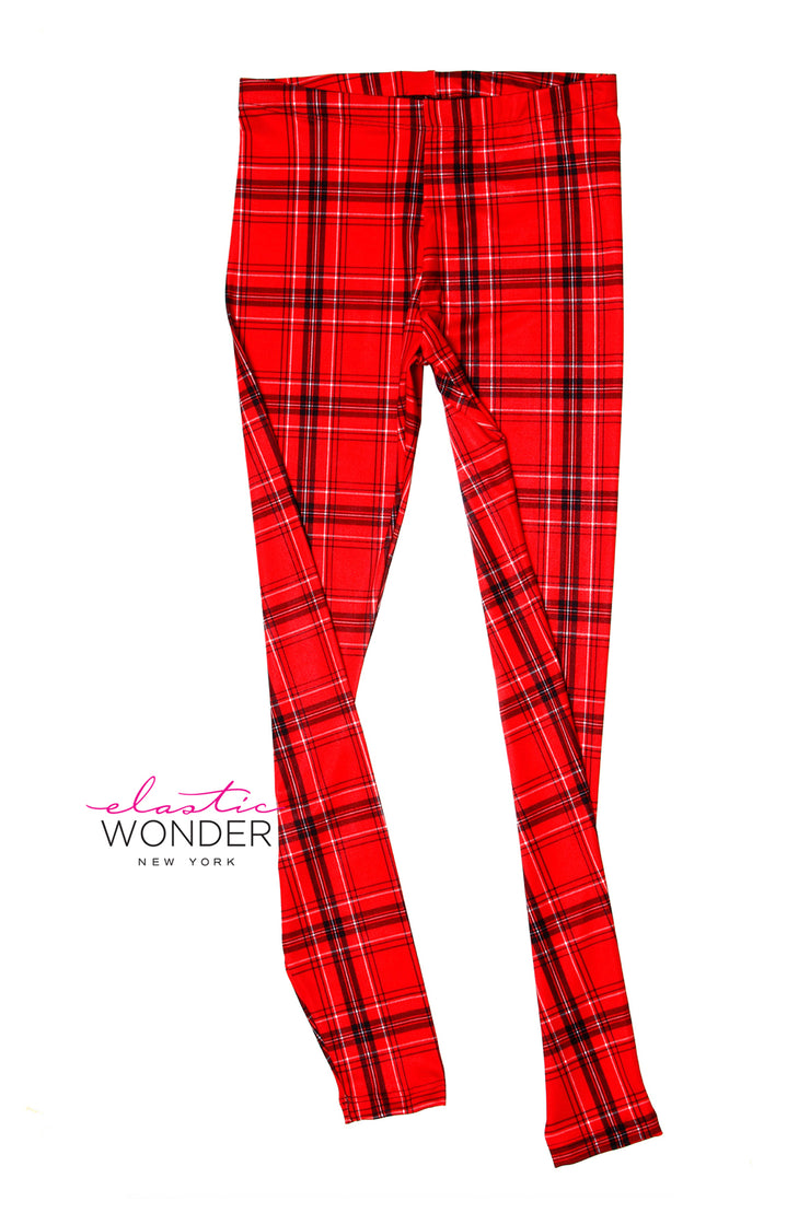 Red White Black Plain Pattern Printed Spandex Leggings - ElasticWonder.com