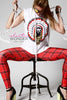 In Stock English Plaid Print Spandex Leggings Red - ElasticWonder.com