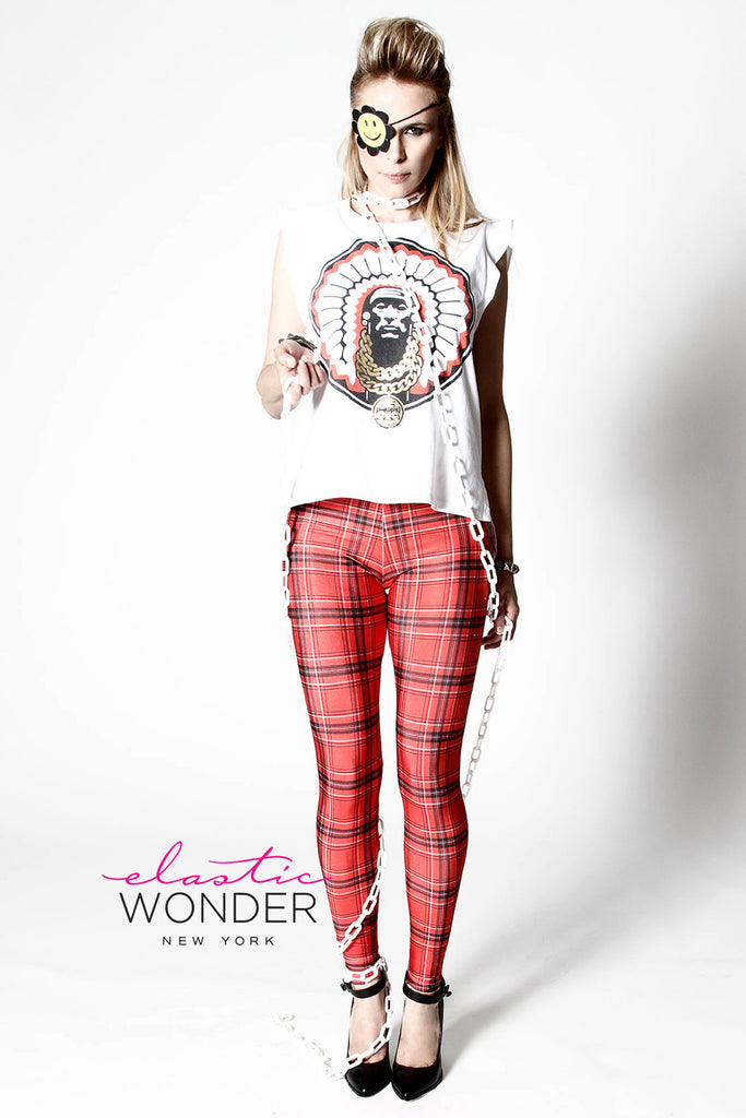 English Plaid Print Spandex Leggings - Elastic Wonder - 1