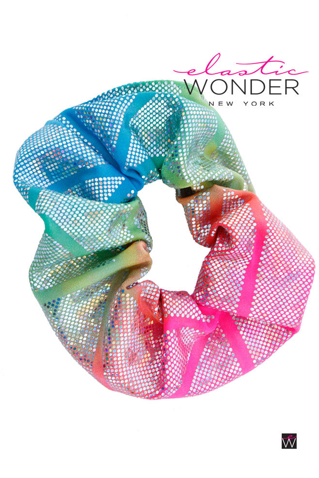Scrunchie Retro 80s Hair Accessory Rainbow Hologram - ElasticWonder.com