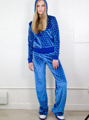 Hologram Sequins Velour Hoodie Jacket & Pants Set - ElasticWonder.com