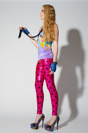 Shattered Glass Hologram Polka Dot Flock Print Leggings - ElasticWonder.com