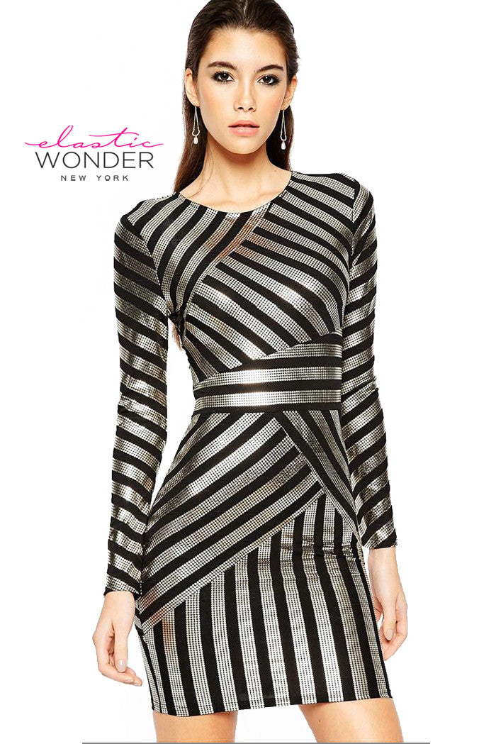 Shiny Foil Stripes Body Con Mini Dress - ElasticWonder.com