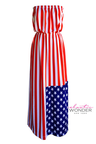 American Flag Stars And Stripes Strapless Maxi Dress