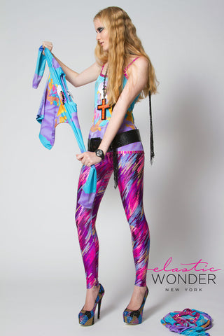Multicolor Streaks Metallic Foil Spandex Leggings