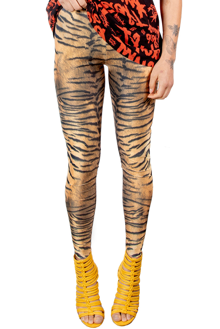 Natural Tiger Fur Animal Print Women's 4-Way Stretch Nylon Spandex Leggings - ElasticWonder.com