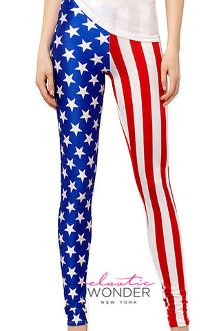 US American Flag Spandex Leggings