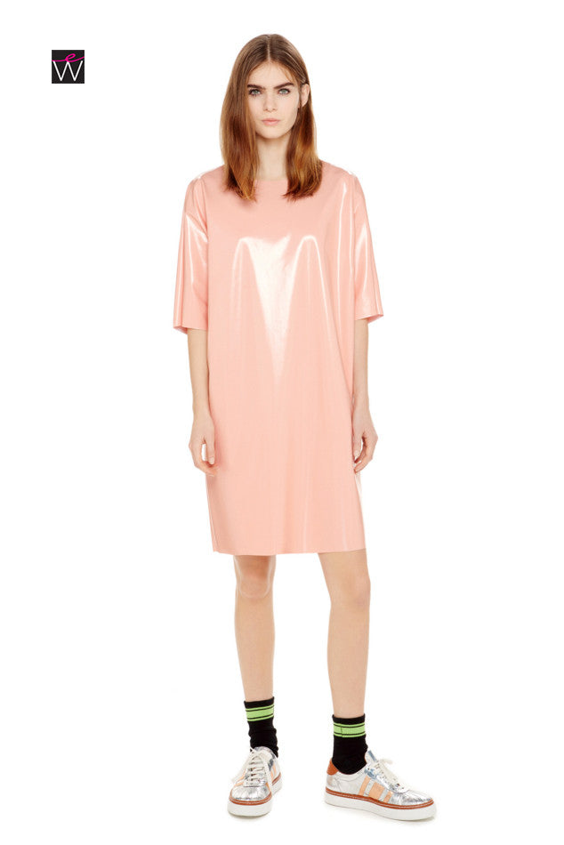 Women's 4-Way Stretch Vinyl Pocketed Tunic Dress - ElasticWonder.com