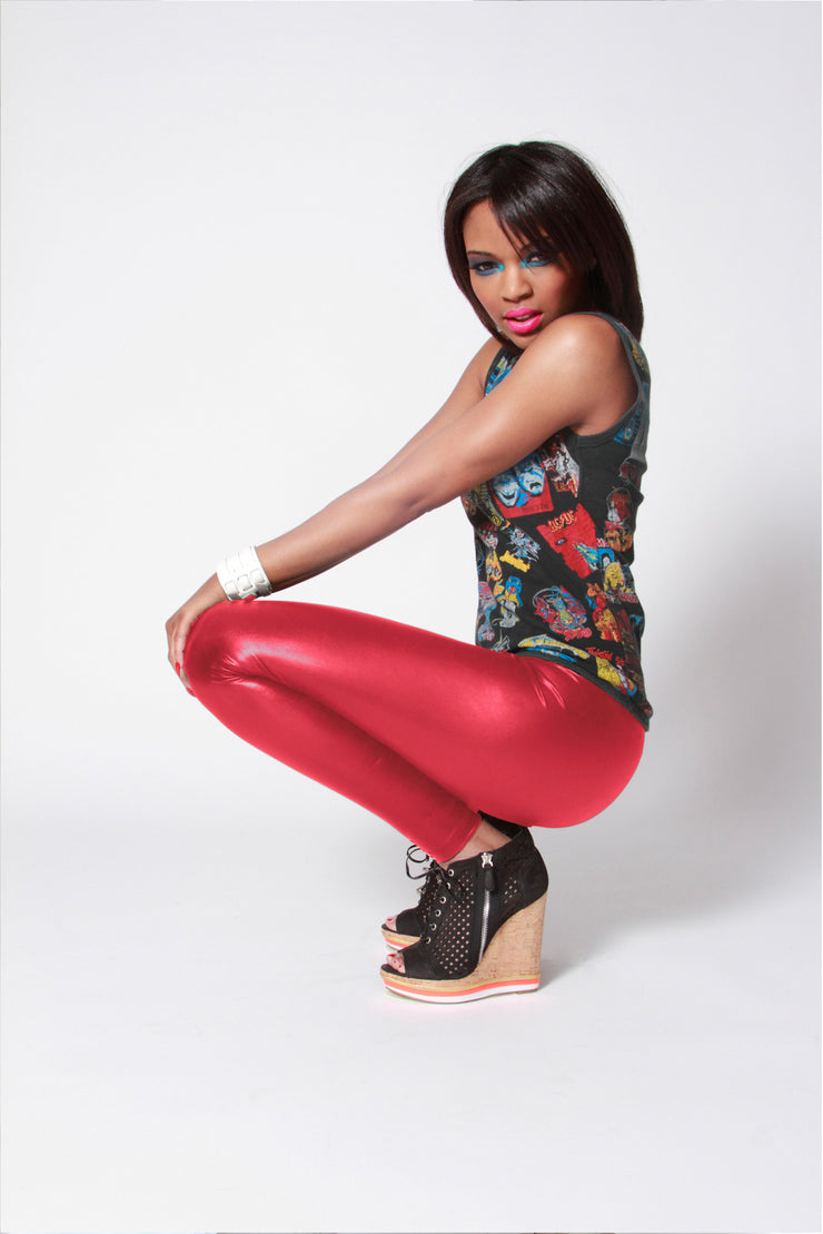 Wet Look Spandex Leggings Red Yellow Hues - ElasticWonder.com