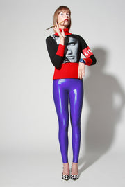 Wet Look Spandex Leggings Black Blue Green Hues - ElasticWonder.com
