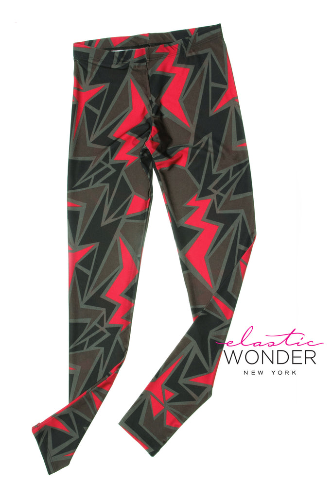 Zig Zag Flash Spandex Leggings - Elastic Wonder