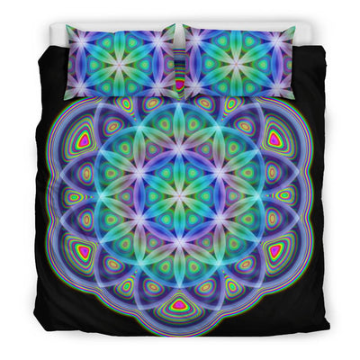Acid Flower Bedding Set Electro Threads Bedding Set - Black - Acid Flower Bedding Set US King