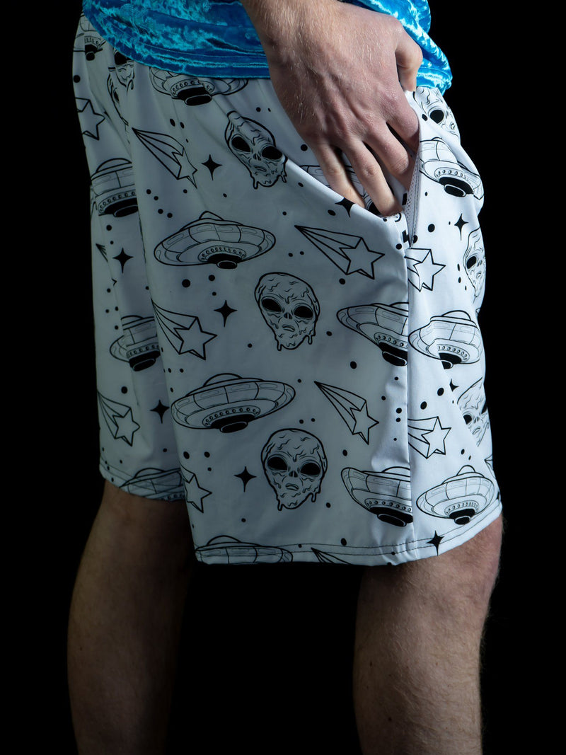 Alien Drip (White) Swimtrunks Mens Swim Trunks Mother Grime