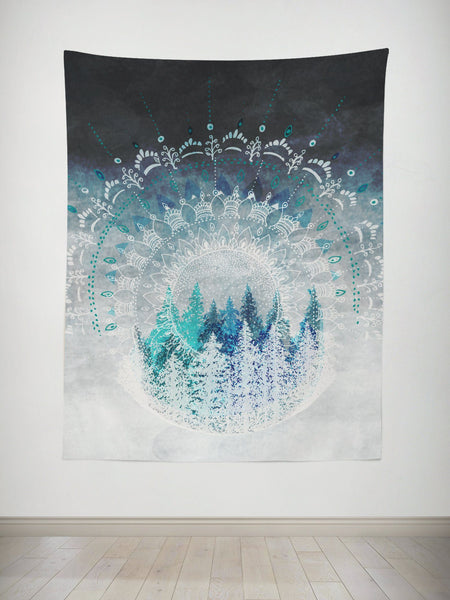 Among the Pines Mandala Tapestry Tapestry Electro Threads