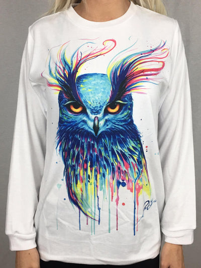 Aurora Owl Unisex Long Sleeve Shirt Long Sleeve Electro Threads