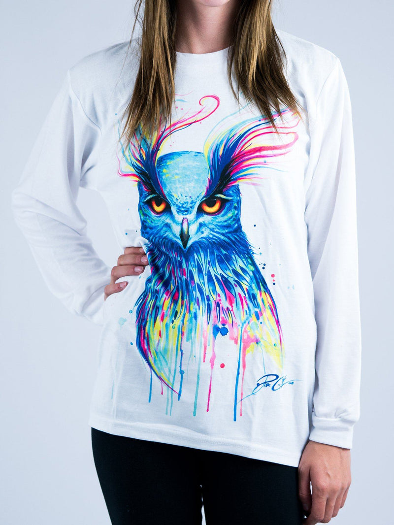 Aurora Owl Unisex Long Sleeve Shirt Long Sleeve Electro Threads XS