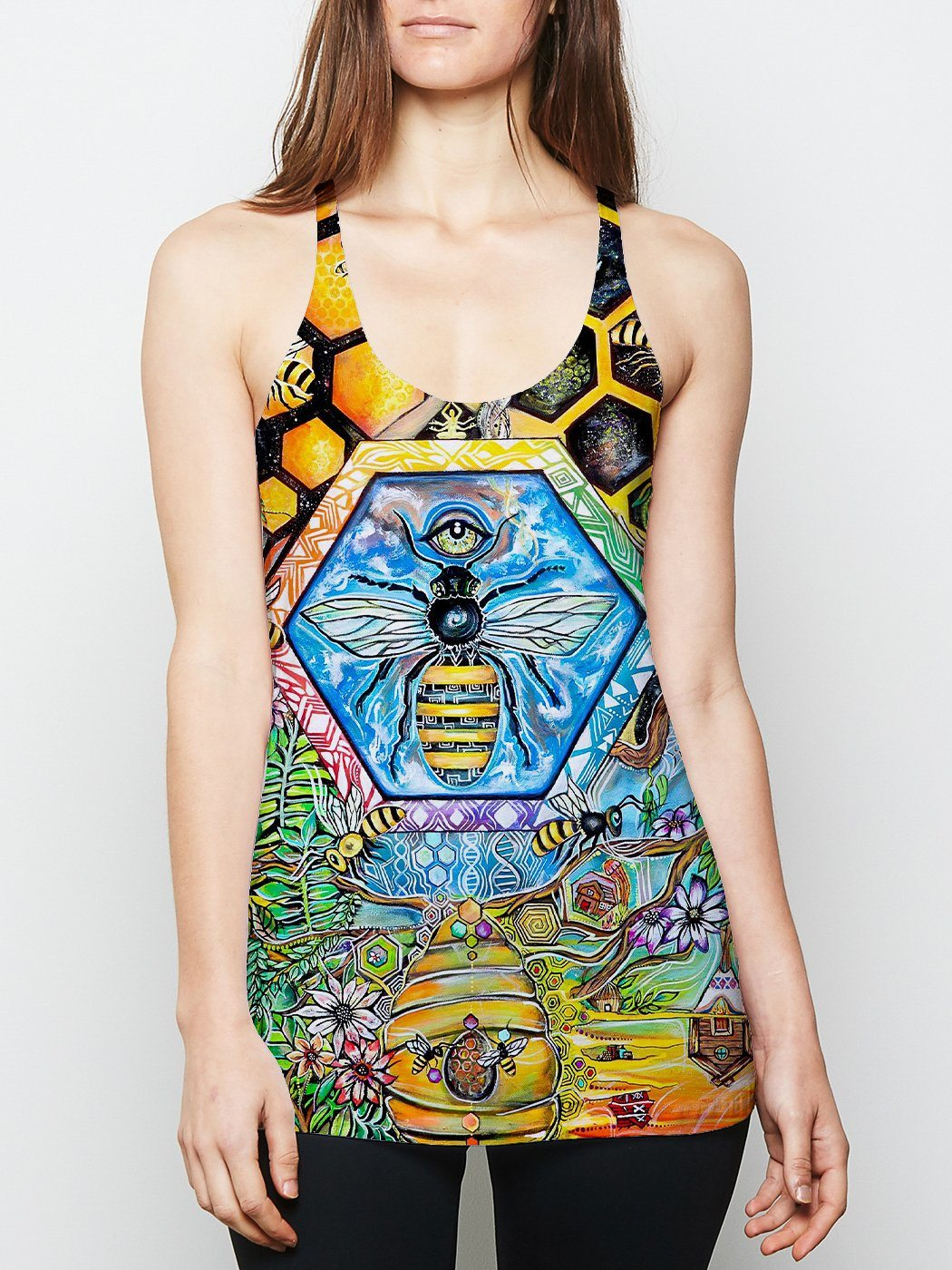 Bee Conscious Racerback Tank Top Tank Tops Electro Threads