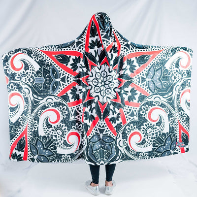 Black and Red Mandala Hooded Blanket Hooded Blanket Electro Threads