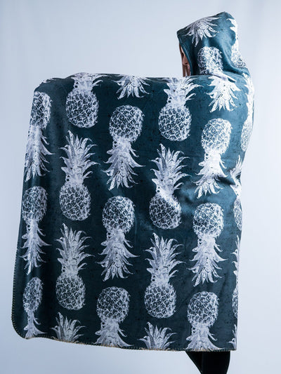 Black And White Pineapple Hooded Blanket Hooded Blanket Electro Threads