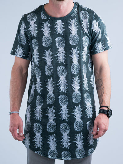 Black and White Pineapple Tall Tee Mens Tall Tee T6 XS BLACK