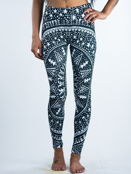 Black Mandala Forest Leggings Leggings T6