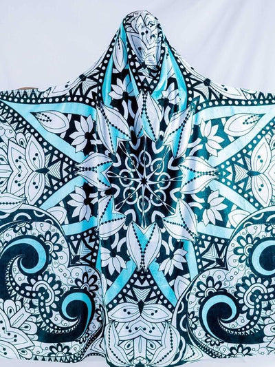 Black, Teal, and White Mandala Hooded Blanket 50X60 Hooded Blanket Electro Threads