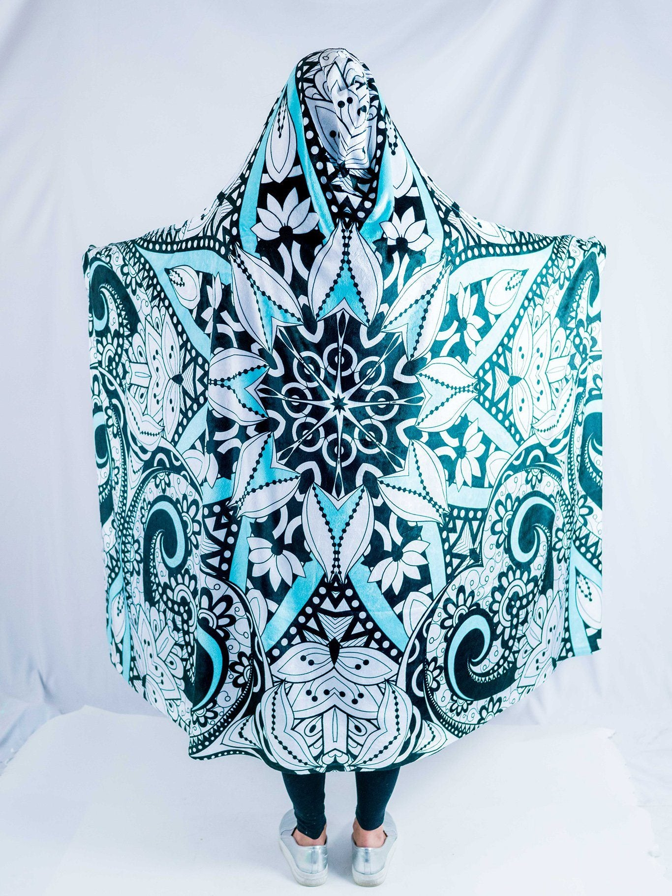 Black, Teal, and White Mandala Hooded Blanket Hooded Blanket Electro Threads