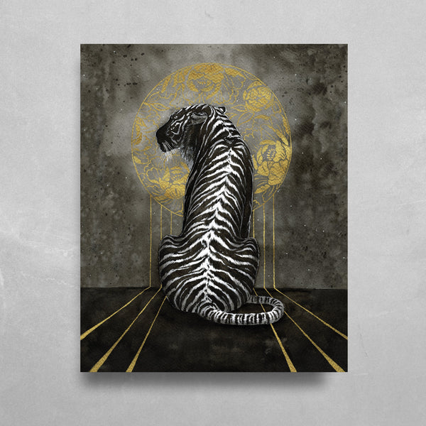 Black Tiger HD Metal Panel Print Ready to Hang HD Metal Print Electro Threads