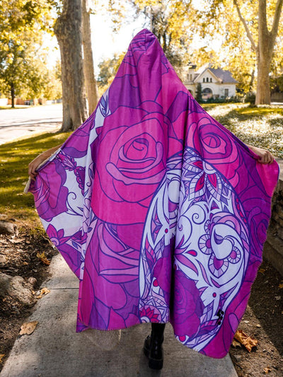 Blossoming Skulls Hooded Blanket Hooded Blanket Electro Threads