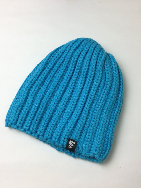 Blue Knit Slouch Beanie Hat Electro Threads