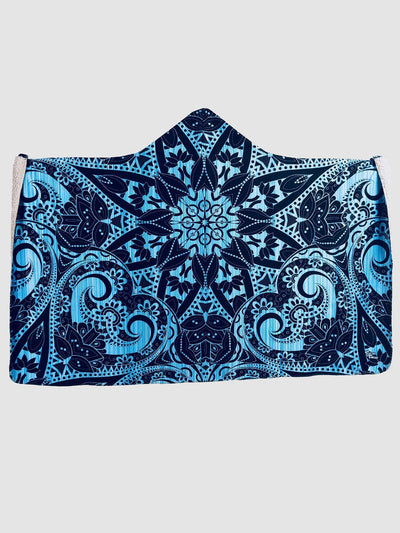 Blue Mandala Hooded Blanket Hooded Blanket Electro Threads