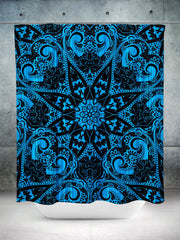 Blue Mandala Shower Curtain Shower Curtains Electro Threads