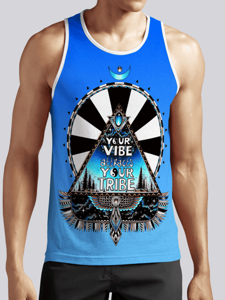 Blue Vibe Tribe Unisex Tank Top Tank Tops T6 XS Blue