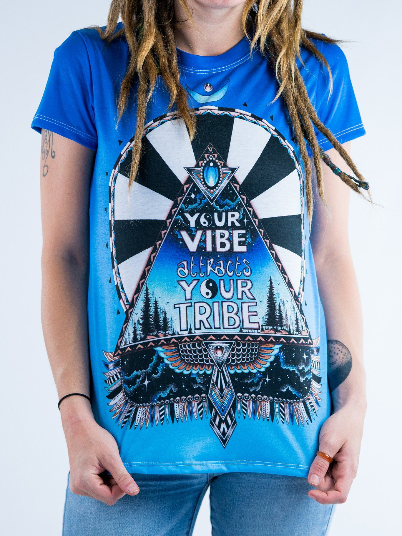 Blue Vibe Tribe Women's Crew T-Shirts T6