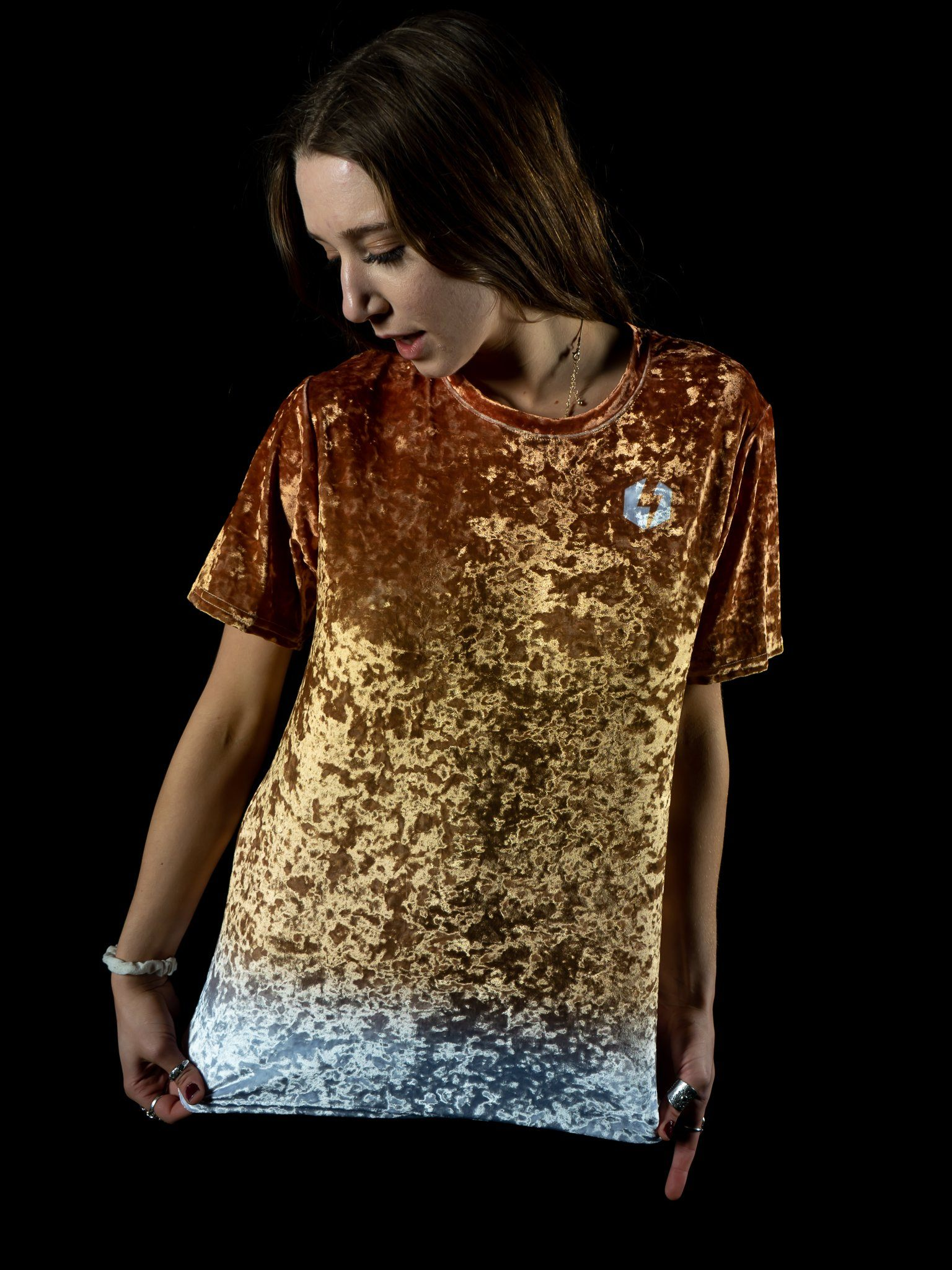 Bronze Unisex Crushed Velvet Crew T-Shirts Electro Threads