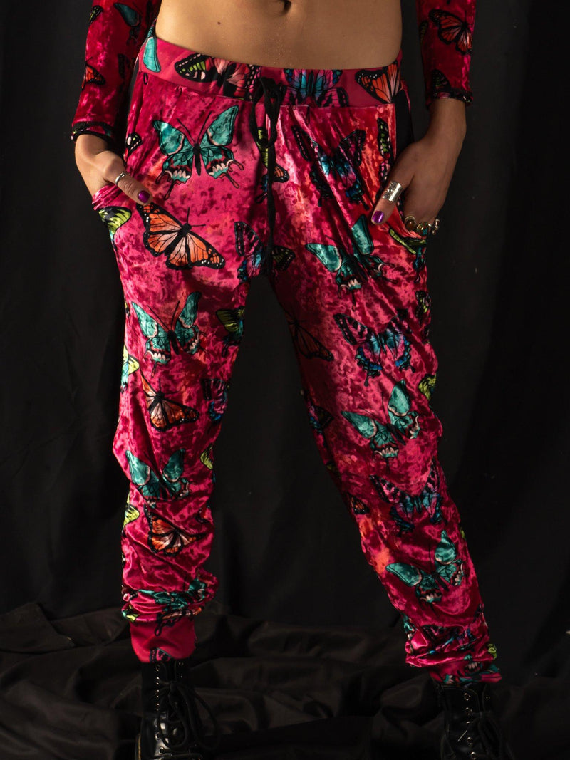 Maroon Butterfly Unisex Joggers Jogger Pant Electro Threads