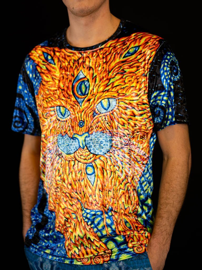 Cat That Brings Love Neon Unisex Crew T-Shirts Electro Threads XS Crushed Velvet