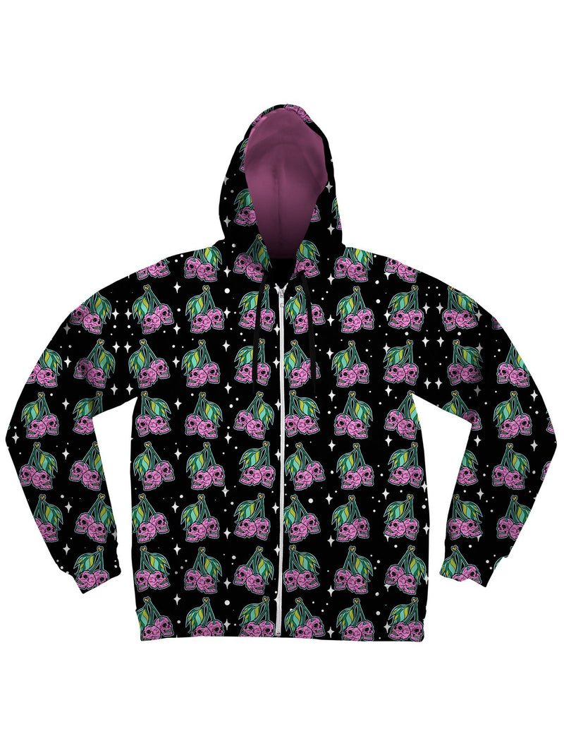 Cherry Skull (Black) Unisex Hoodie Zip-Up Hoodies Electro Threads