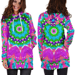 Color Blocks Mandala Hooded Dress Hoodie Dress T6